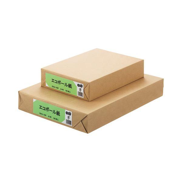 (まとめ) TANOSEE エコボール紙 A3 450g/m2 1パック(100枚) 〔×5セット〕【代引不可】【北海道・沖縄・離島配送不可】