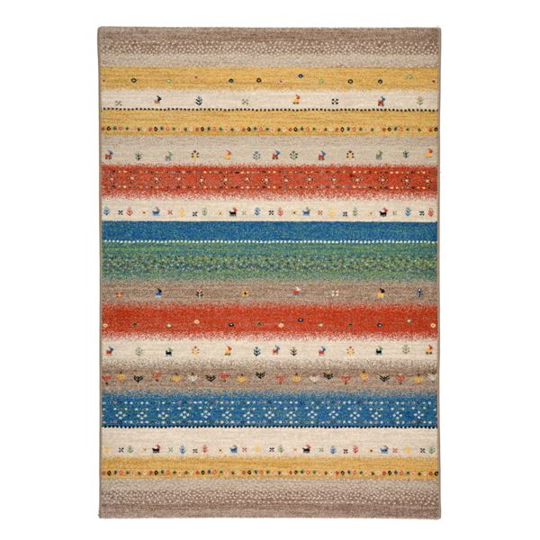 【送料無料】ギャッベ風 ラグマット/絨毯 〔133cm×195cm グリーン〕 長方形 ウィルトン 高耐久 『インフィニティ レーヴ』【代引不可】