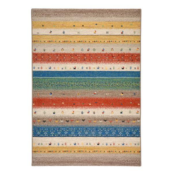 【送料無料】ギャッベ風 ラグマット/絨毯 〔160cm×230cm グリーン〕 長方形 ウィルトン 高耐久 『インフィニティ レーヴ』【代引不可】