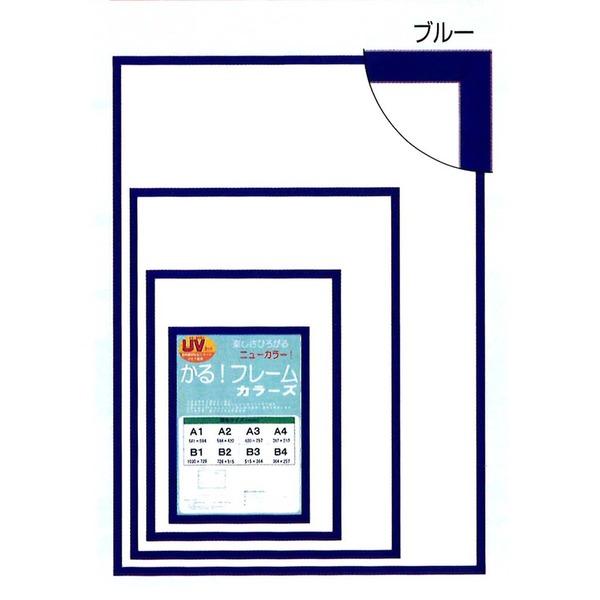 〔パネルフレーム〕軽いフレーム・UVカットPET付 ■ポスターフレームカラーズB1(1030×728mm)ブルー【代引不可】