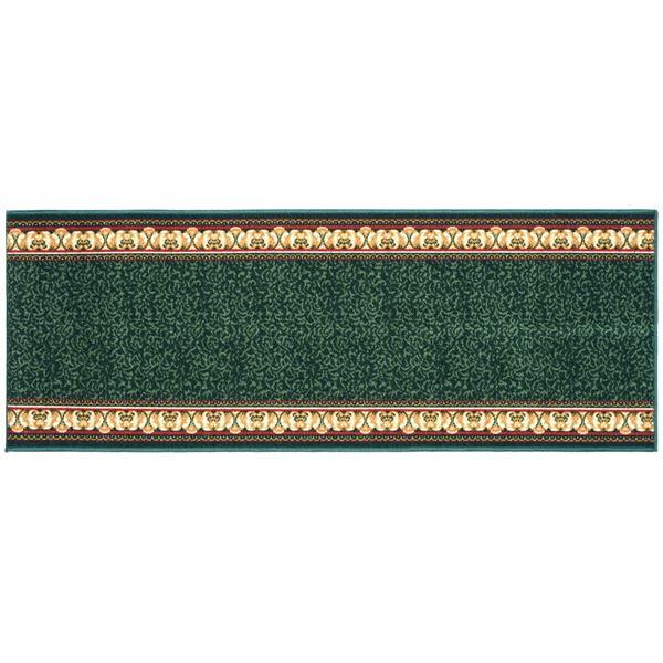 【送料無料】ヨーロピアン調 ラグマット/絨毯 〔80cm×440cm グリーン〕 洗える 防滑 防キズ 防音 タフトプリント 〔リビング ダイニング〕【代引不可】