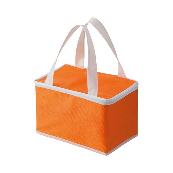 (まとめ) TANOSEE 不織布保冷バッグ ヨコ215×タテ145×マチ幅140mm オレンジ 1パック(5枚) 〔×5セット〕【代引不可】【北海道・沖縄・離島配送不可】