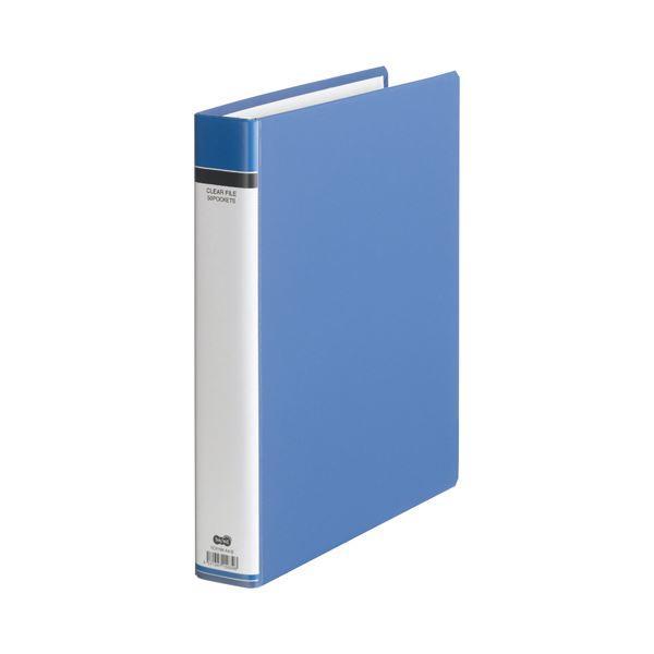 (まとめ) TANOSEE クリヤーファイル(貼り表紙) A4タテ 30穴 50ポケット付属 背幅51mm 青 1セット(6冊) 〔×5セット〕【代引不可】