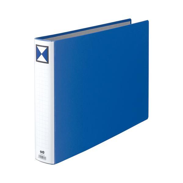 (まとめ) TANOSEE 両開きパイプ式ファイル A3ヨコ 500枚収容 背幅66mm 青 1冊 〔×10セット〕【代引不可】