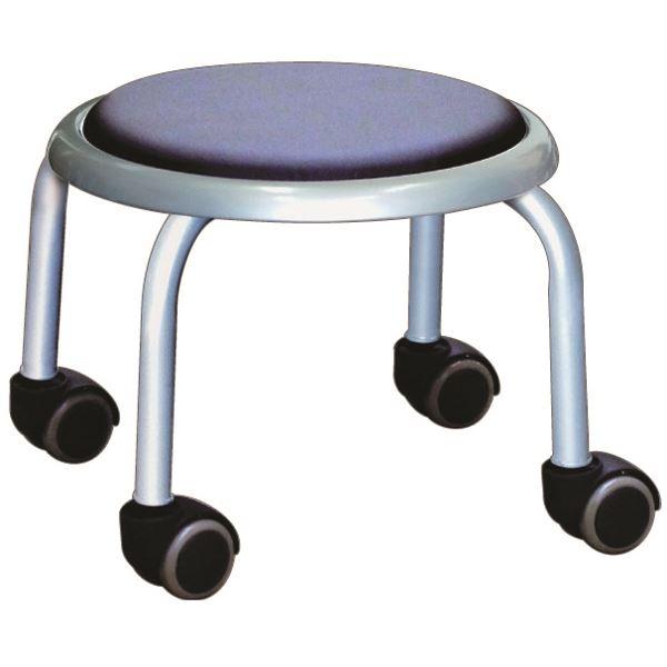 【送料無料】スタッキングチェア/丸椅子 〔同色4脚セット ブラック×シルバー〕 幅32cm 日本製 スチール 『ローキャスター ボン』【代引不可】