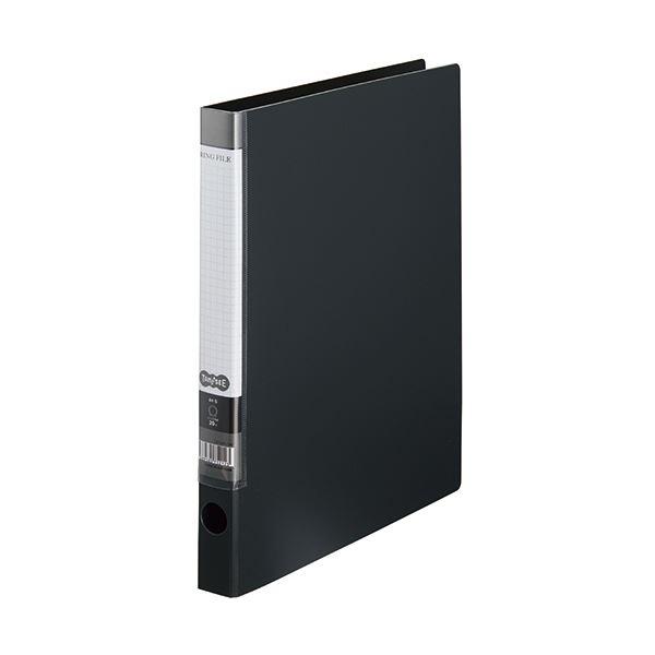 (まとめ) TANOSEE OリングファイルA4タテ 2穴 150枚収容 背幅32mm ダークグレー 1セット(10冊) 〔×10セット〕【代引不可】