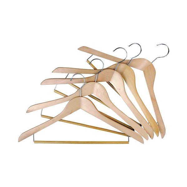 (まとめ)ニーズ 木製ハンガー バリュー H-1745 5本入〔×30セット〕【代引不可】【北海道・沖縄・離島配送不可】