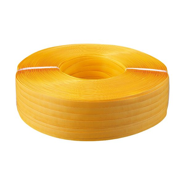 (まとめ) TANOSEE PPバンド 手締め用 15mm×1000m 黄色 1巻 〔×5セット〕【代引不可】【北海道・沖縄・離島配送不可】