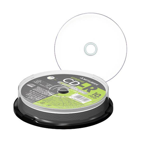 (まとめ) 三菱ケミカルメディア データ用CD-R700MB 48倍速 ホワイトワイドプリンタブル スピンドルケース PR80FP10SD1 1パック(10枚) 〔×30セット〕【代引不可】【北海道・沖縄・離島配送不可】