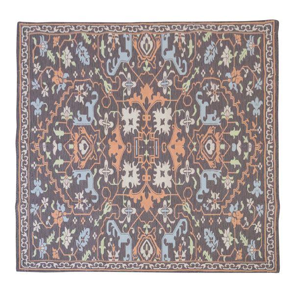 エスニック風 ラグマット/絨毯 〔180×180cm TTR-168A〕 正方形 インド製 〔リビング ダイニング 応接間 客間〕【代引不可】【北海道・沖縄・離島配送不可】