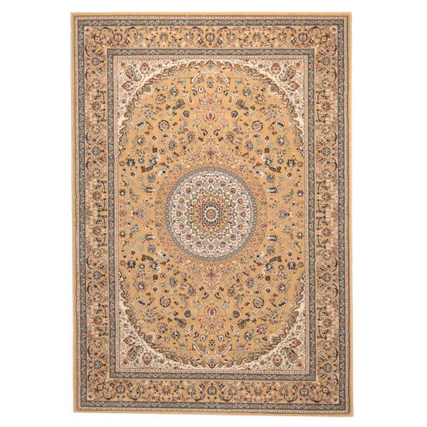 【送料無料】ウィルトン織 ラグマット/絨毯 〔160cm×230cm ベージュ〕 長方形 トルコ製 高耐久 『ローサマルカンド』 〔リビング〕【代引不可】