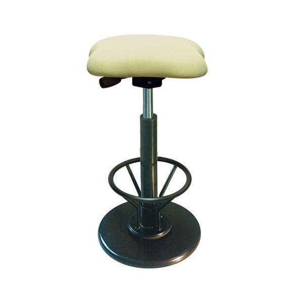 【送料無料】モダン スツール/丸椅子 〔フットレスト付き アイボリー×ブラック〕 幅33cm 日本製 『ツイストスツールラフレシア KモーR』【代引不可】