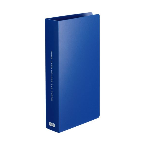 (まとめ) TANOSEE 名刺ホルダー 固定式コンパクト 240名用 ヨコ入れ ブルー 1冊 〔×30セット〕【代引不可】