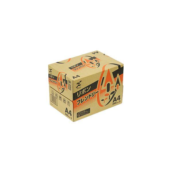 (まとめ)日本製紙 リボンフレンドリー A4RBNF-A4 1セット(2500枚:500枚×5冊)〔×3セット〕【代引不可】【北海道・沖縄・離島配送不可】