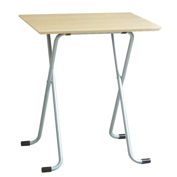 折りたたみテーブル 〔角型 ナチュラル×シルバー〕 幅60cm 日本製 木製 スチールパイプ 〔ダイニング リビング〕【代引不可】【北海道・沖縄・離島配送不可】