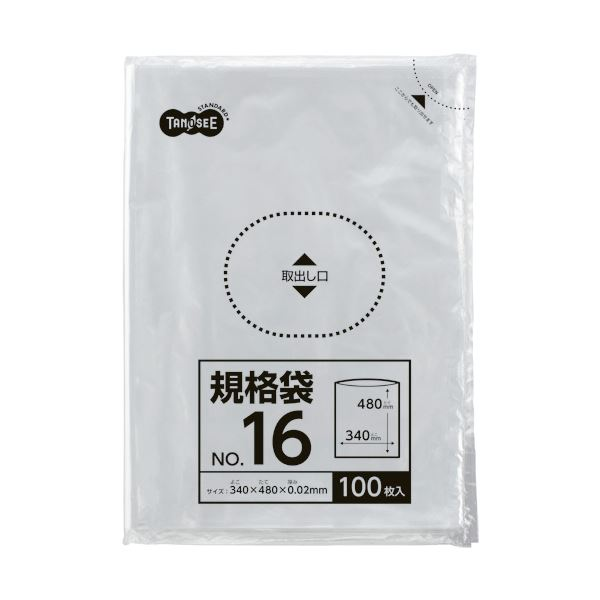 規格袋 TANOSEE 16号0.02×340×480mm (まとめ) 〔×30セット〕【代引不可】【北海道・沖縄・離島配送不可】 1パック(100枚)