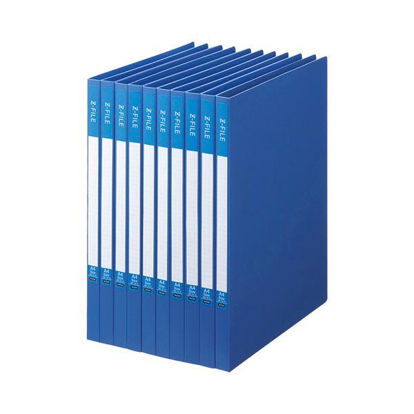 (まとめ) TANOSEE Zファイル(再生PP表紙) A4タテ 100枚収容 背幅17mm ブルー 1セット(10冊) 〔×10セット〕【代引不可】