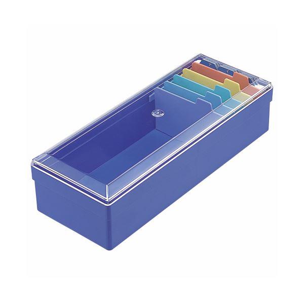 (まとめ) ライオン事務器 名刺整理箱W102×D260×H70mm 800枚収容 青 No.100 1個 〔×10セット〕【代引不可】