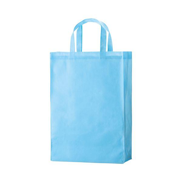 (まとめ) TANOSEE 不織布バッグ 中 ヨコ320×タテ450×マチ幅120mm スカイブルー 1パック(10枚) 〔×10セット〕【代引不可】