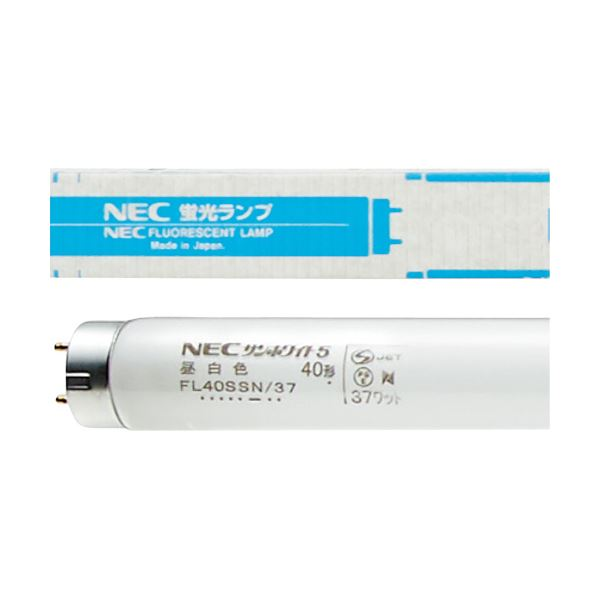 (まとめ)NEC 一般形蛍光ランプ サンホワイト5直管グロースタータ40W形 昼白色 FL40SSN/37 1ケース(25本)〔×3セット〕【代引不可】【北海道・沖縄・離島配送不可】