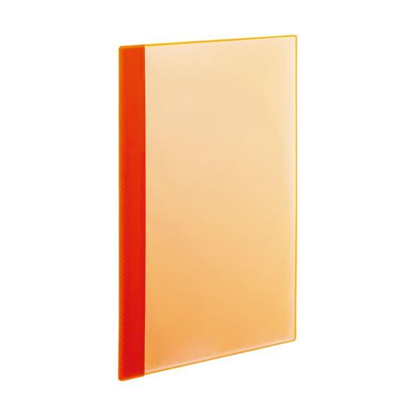 (まとめ)TANOSEE薄型クリアブック(角まる) A4タテ 10ポケット オレンジ 1セット(50冊:5冊×10パック)〔×3セット〕【代引不可】