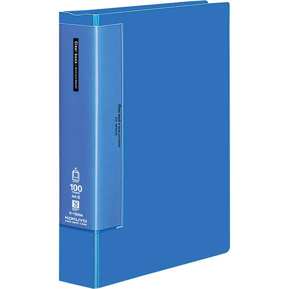 (まとめ買い)コクヨ クリヤーブック ウェーブカット 固定式 A4縦 100ポケット 青 ラ-T590B 〔3冊セット〕