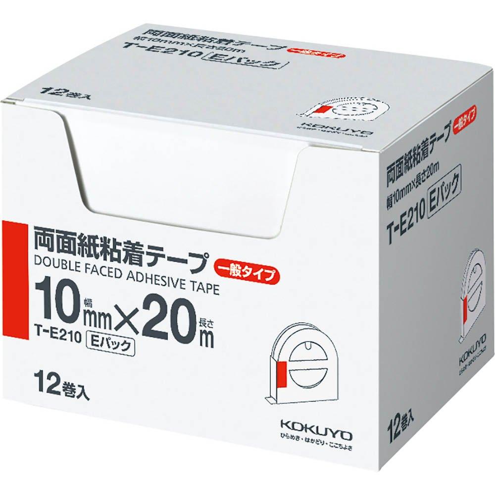 (まとめ買い)コクヨ 両面紙粘着テープ お徳用Eパック 10mm幅×20m 12巻入 T-E210 〔×3〕
