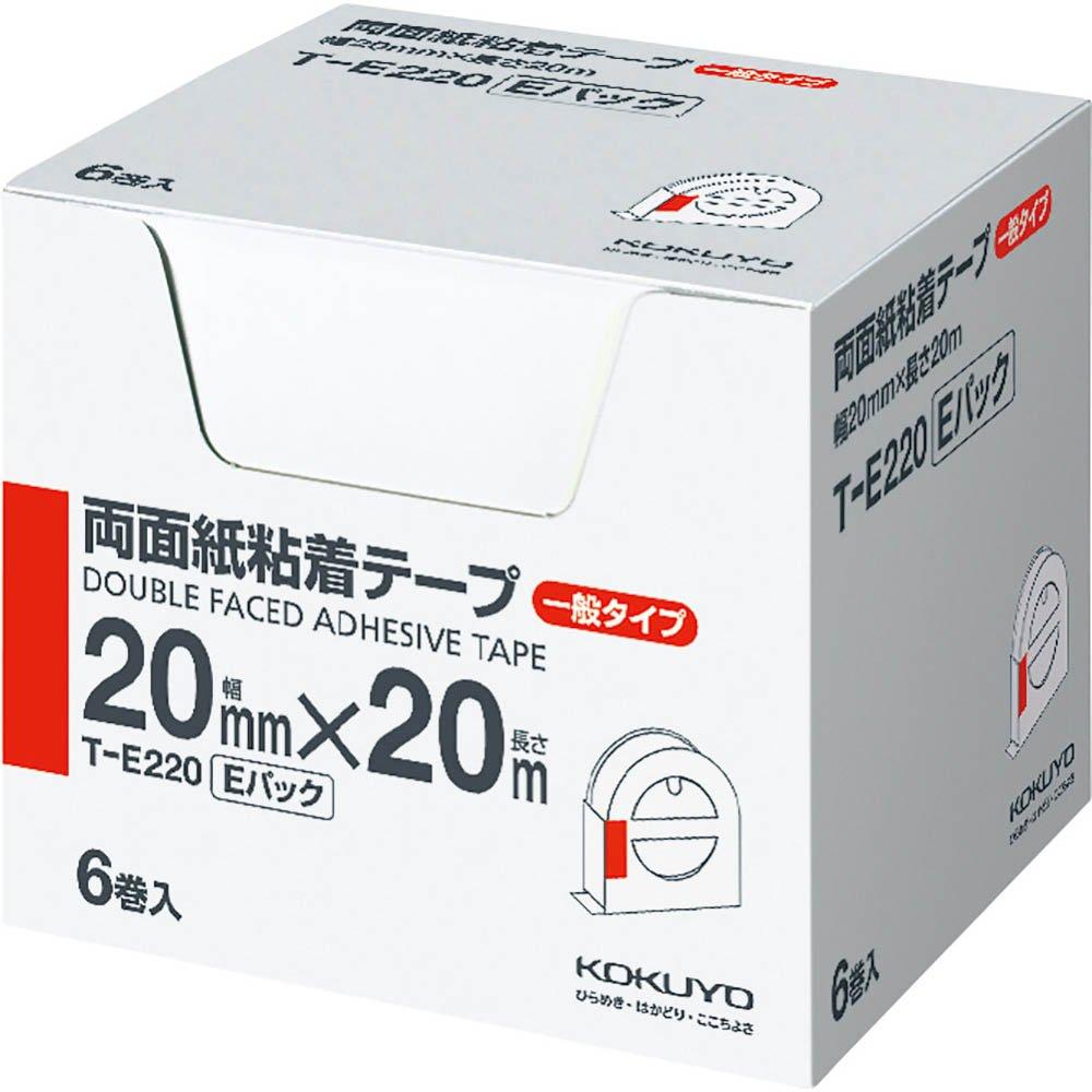 (まとめ買い)コクヨ 両面紙粘着テープ お徳用Eパック 20mm幅×20m 6巻入 T-E220 〔×3〕