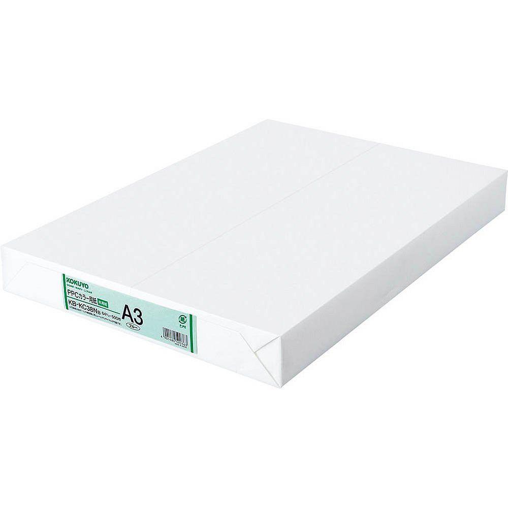 (まとめ買い)コクヨ PPCカラー用紙 共用紙 A3 500枚 青 KB-KC38NB 〔×3〕