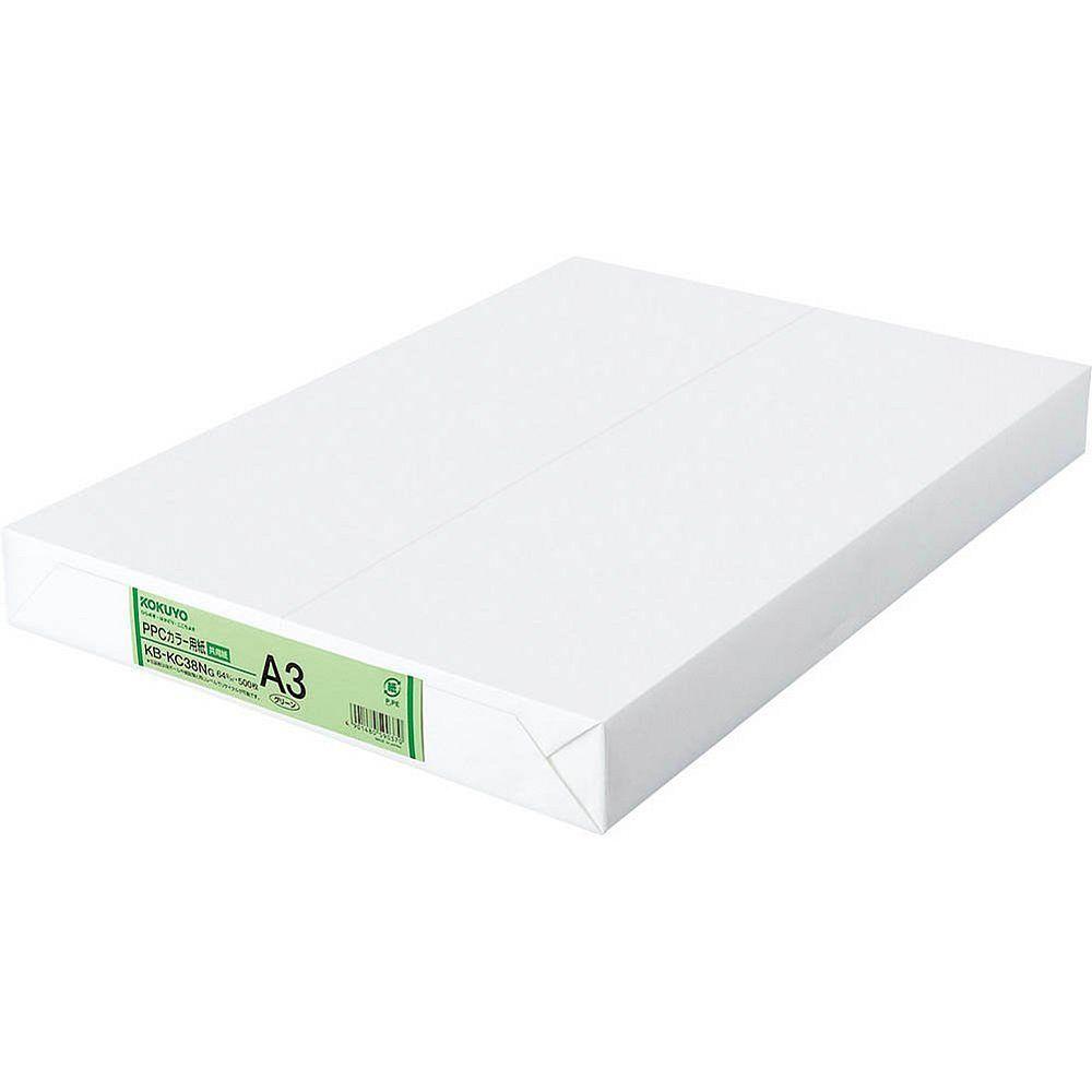 (まとめ買い)コクヨ PPCカラー用紙 共用紙 A3 500枚 緑 KB-KC38NG 〔×3〕