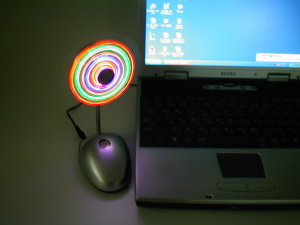 USB flash light with fan