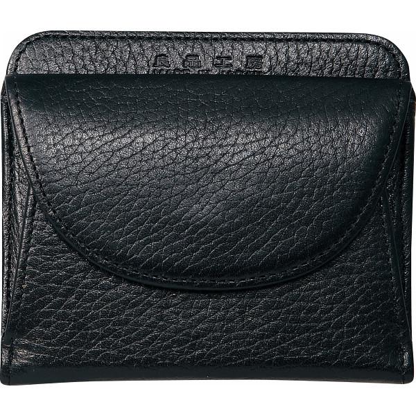 【送料無料】良品工房 日本製牛革二つ折財布 ブラック B0110-201B