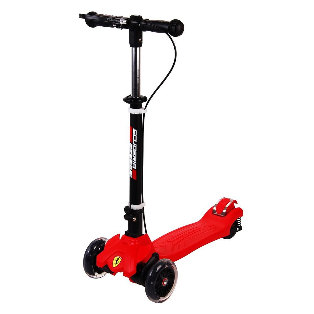 スクーデリアフェラーリ(Scuderia Ferrari) ツイストスクーター LEDタイヤ ハンドブレーキ 方位磁石付 FXK50 キックボード 折リ畳機能付き【代引不可】