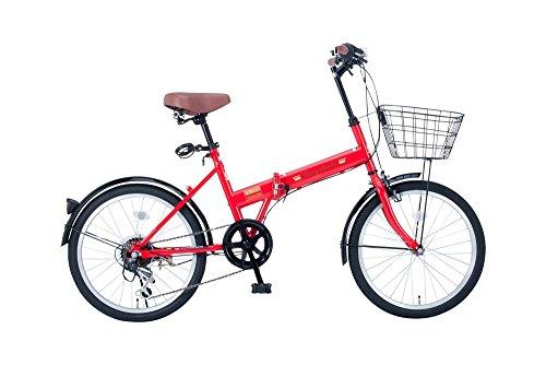 【送料無料】Raychell(レイチェル) 20インチ 折りたたみ 自転車 FB-206R シマノ6段変速 フロントLEDライト付 [メーカー保証1年] レッド【代引不可】