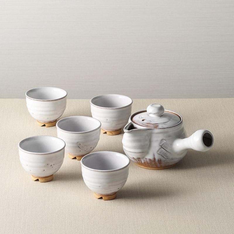 【送料無料】〔ギフト〕萩焼 白釉茶器揃 和幸作 05764【代引不可】