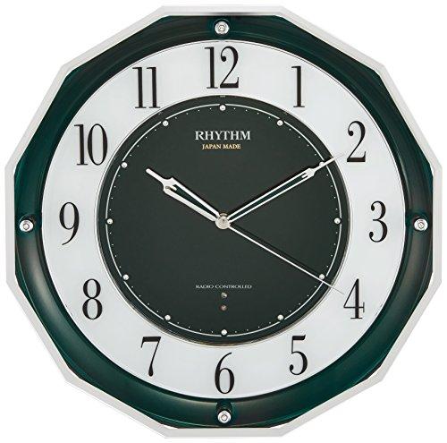 【送料無料】〔ギフト〕リズム時計 高感度 電波 掛け時計 アナログ スリーウェイブ M846 【 日本製 】 グリーン購入法 適合品 緑 RHYTHM 4MY846SR05【代引不可】