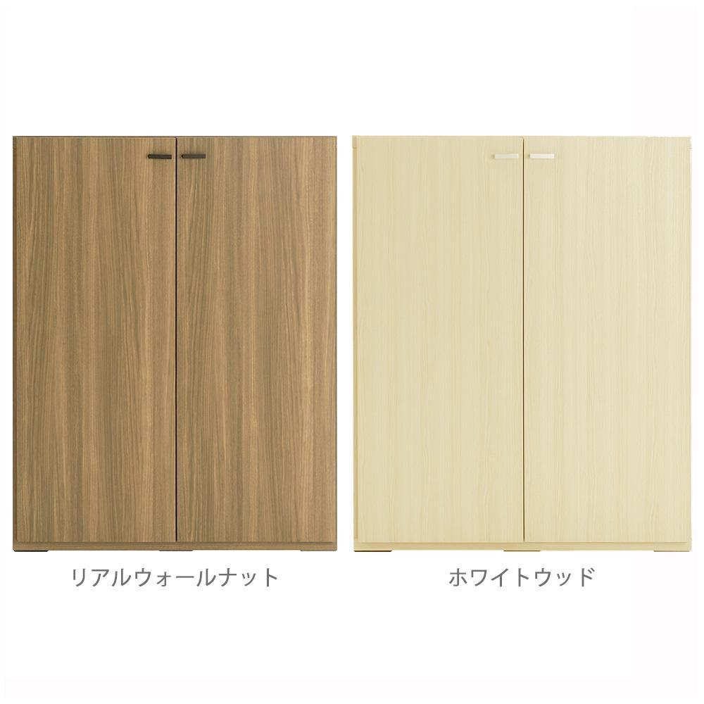 【送料無料】フナモコ 日本製 LIVING SHELF 棚 板戸 900×387×1138mm ホワイトウッド・KFS-90【代引不可】