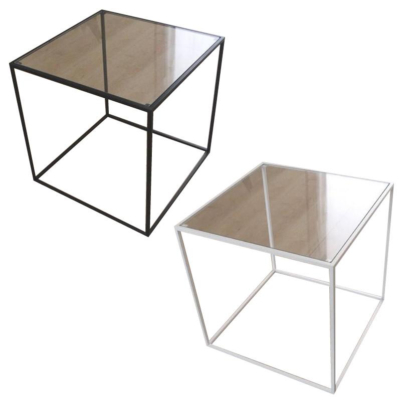 【送料無料】トレイテーブル サイドテーブル ガラス HWG-035・ホワイト【代引不可】