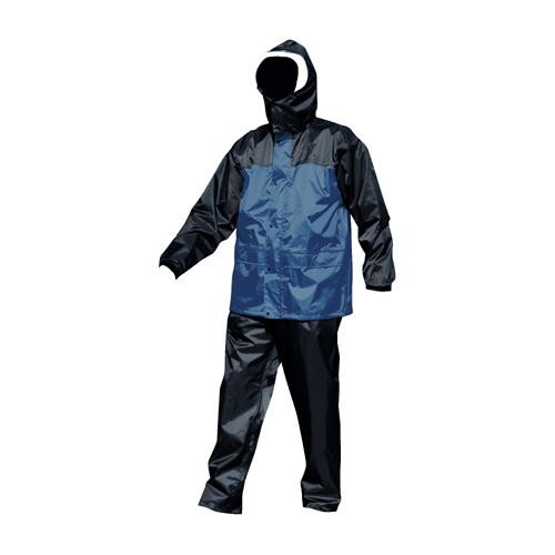 富士手袋工業 ブレリス 透湿レインスーツ 黒/紺・M 347-10 【代引不可】