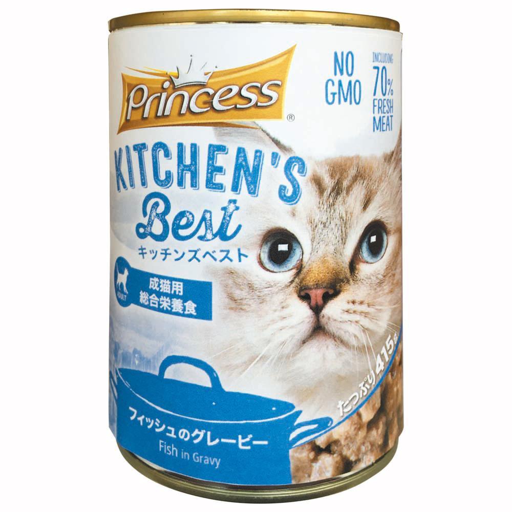 成猫用総合栄養食キャットフード キッチンズベスト プリンセス キャット フィッシュのグレービー 415×24缶 【代引不可】【北海道・沖縄・離島配送不可】