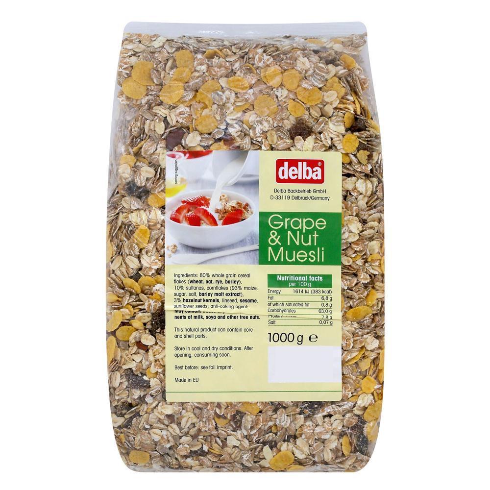delba(デルバ) グレープ&ナッツミューズリー 1kg×10個セット 【代引不可】【北海道・沖縄・離島配送不可】