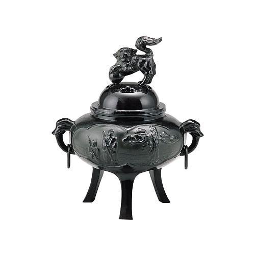 高岡銅器 高砂 カン付 茶黒色 香炉 160-07 【代引不可】【北海道・沖縄・離島配送不可】