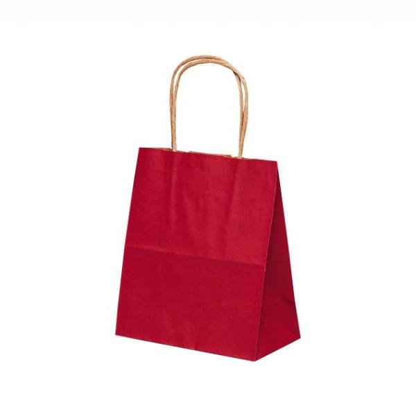 T-1 自動紐手提袋 紙袋 紙丸紐タイプ 180×100×210mm 200枚 カラー(赤) 1114 【代引不可】【北海道・沖縄・離島配送不可】