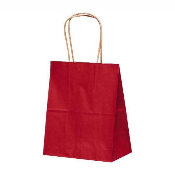 T-2 自動紐手提袋 紙袋 紙丸紐タイプ 200×120×250mm 200枚 カラー(赤) 1214 【代引不可】【北海道・沖縄・離島配送不可】