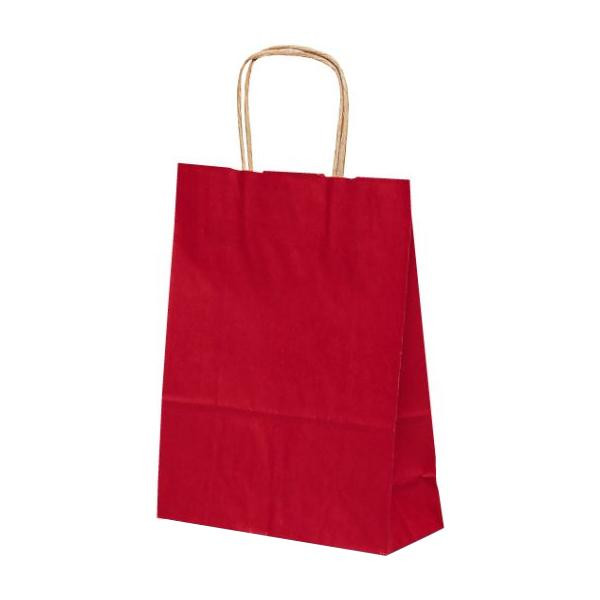 T-3 自動紐手提袋 紙袋 紙丸紐タイプ 220×100×300mm 200枚 カラー(赤) 1314 【代引不可】【北海道・沖縄・離島配送不可】