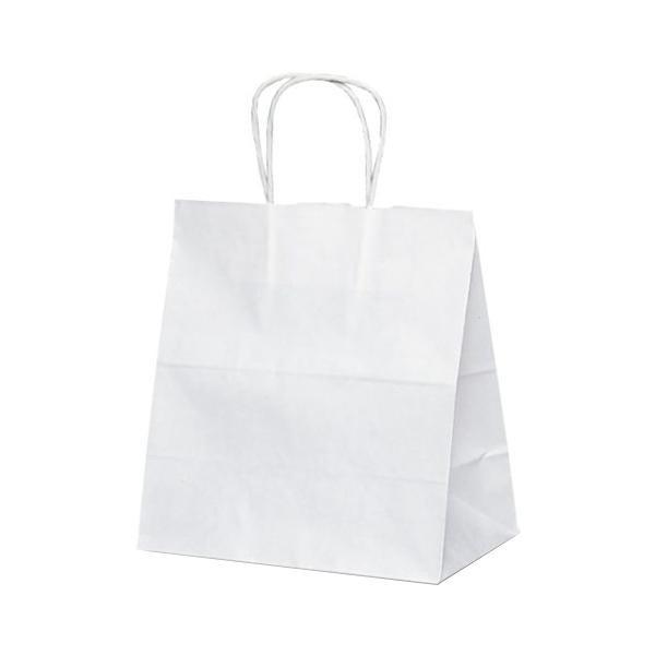 T-5W 自動紐手提袋 紙袋 紙丸紐タイプ 260×150×280mm 200枚 白無地 1624 【代引不可】【北海道・沖縄・離島配送不可】