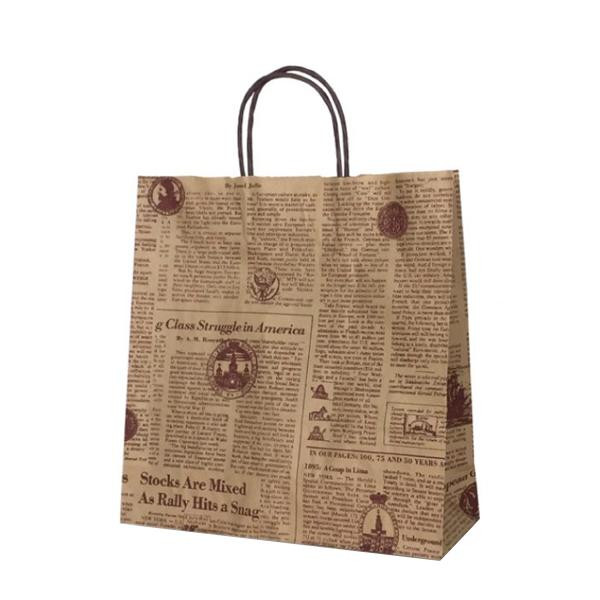 T-6 自動紐手提袋 紙袋 紙丸紐タイプ 320×110×330mm 200枚 リブル(ブラウン) 1689 【代引不可】【北海道・沖縄・離島配送不可】