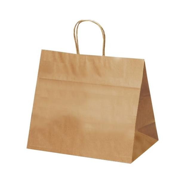 T-9W 自動紐手提袋 紙袋 紙丸紐タイプ 320×200×280mm 200枚 茶無地 1096 【代引不可】【北海道・沖縄・離島配送不可】