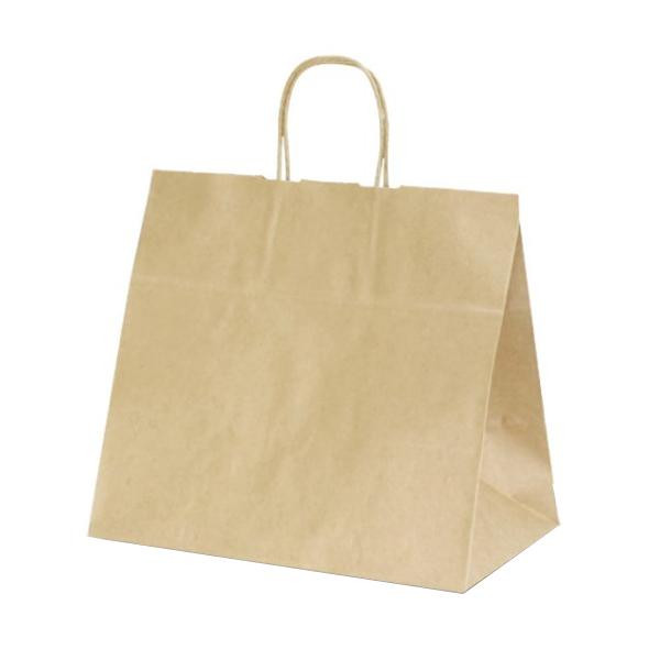 T-11W 自動紐手提袋 紙袋 紙丸紐タイプ 340×220×320mm 200枚 茶無地 1196 【代引不可】【北海道・沖縄・離島配送不可】