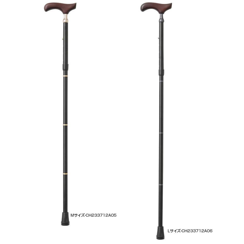 KINDCARE 伸縮折りたたみ杖 PSステッキ スリムネック ブラック Mサイズ・CH233712A05 【代引不可】【北海道・沖縄・離島配送不可】